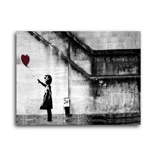"""Banksy """"Girl with Balloon"""" Brushed Aluminum Wall Art (2 options available)"""