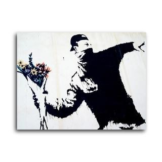 "Banksy ""Flower Thrower"" Brushed Aluminum Wall Art"