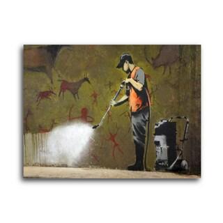 "Banksy ""Power Washer"" Brushed Aluminum Wall Art"
