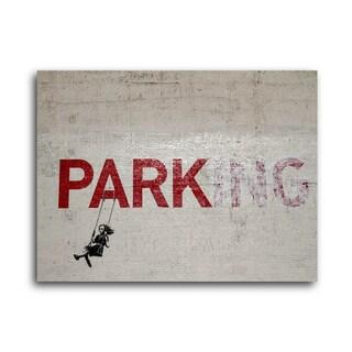 "Banksy ""Parking"" Brushed Aluminum Wall Art"