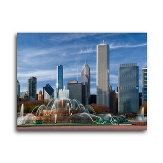 "City Skylines ""Buckingham Fountain Chicago"" Brushed Aluminum Wall Art"