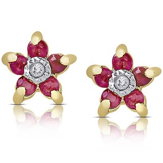 Dolce Giavonna Gold over Sterling Silver Ruby and Diamond Accent Stud Flower Earrings