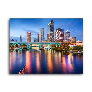 "City Skylines ""Tampa"" Brushed Aluminum Wall Art"