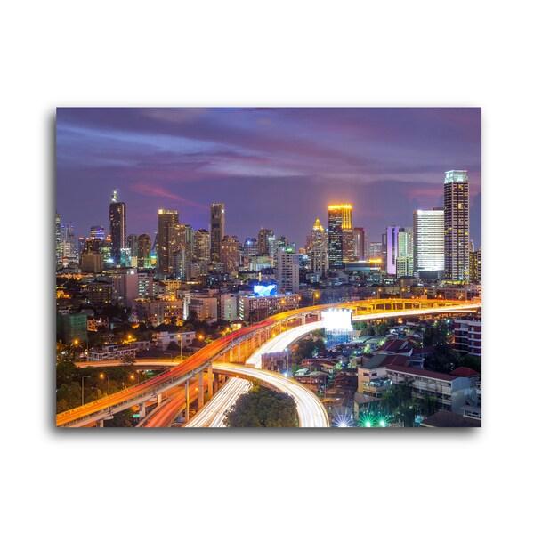 "City Skylines ""Dallas"" Brushed Aluminum Wall Art"