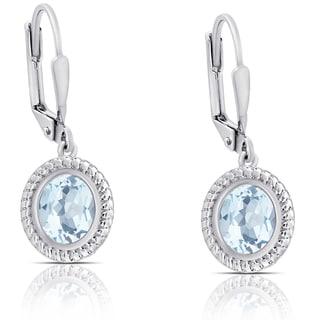 Dolce Giavonna Sterling Silver Oval Blue Topaz Dangle Earrings