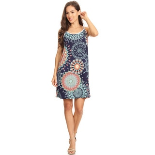 Women's Navy White Floral Sleeveless Slip Dress