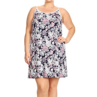 Women's Plus Size Navy Floral Sleeveless Dress