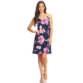 Women's Navy Floral Sleeveless Slip Dress