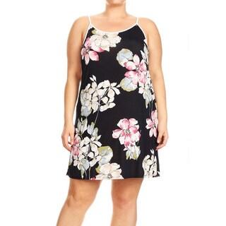 Women's Plus Size Sleeveless Black Floral Dress