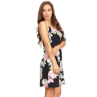 Women's Black Floral Sleeveless Slip Dress