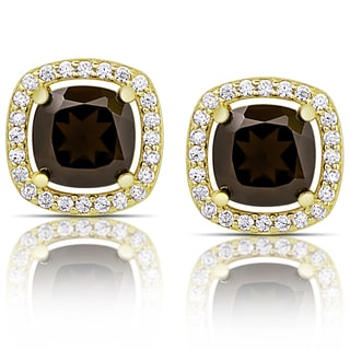 Dolce Giavonna Gold over Sterling Silver Smokey Quartz and Cubic Zirconia Halo Stud Earrings