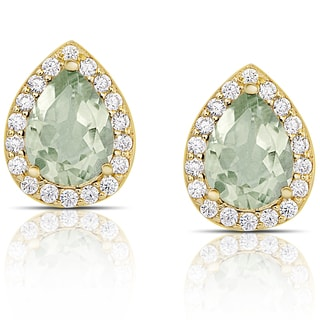 Dolce Giavonna Gold over Sterling Silver Green Amethyst and Cubic Zirconia Teardrop Stud Earrings