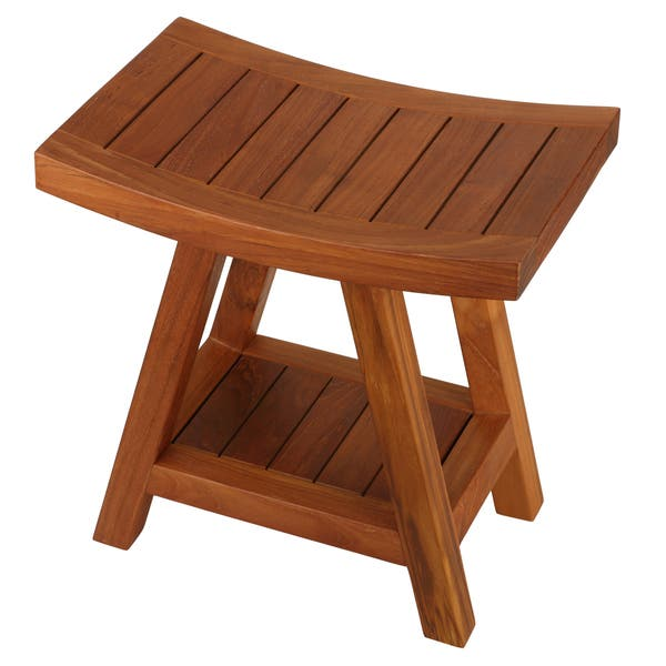 Awe Inspiring Shop Bare Decor Niles Solid Teak Wood Bench Stool With Shelf Alphanode Cool Chair Designs And Ideas Alphanodeonline