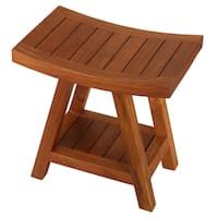 Bare Decor Niles Solid Teak Wood Bench Stool With Shelf