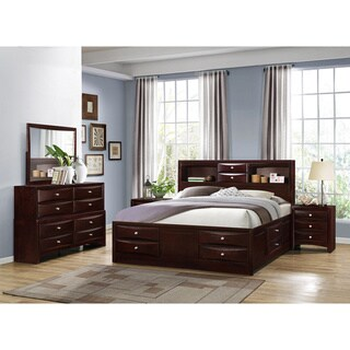 Ankara Espresso Finish Wood Bedroom Set, Includes King Bed, Dresser Mirror with 2 Nightstands