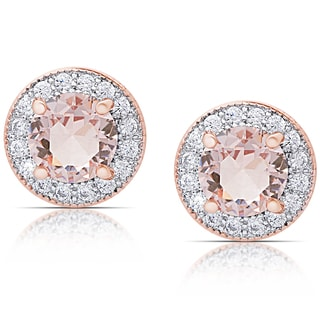 Dolce Giavonna Rose Gold Overlay Morganite and Cubic Zirconia Round Halo Stud Earrings