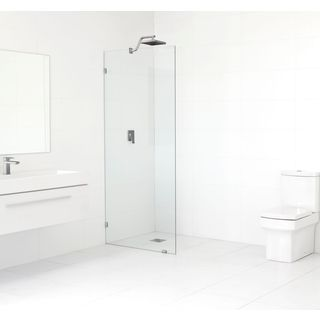 Glass Warehouse Glass, Metal, and Brass 78-inch x 33.5-inch Frameless Shower Single Fixed Panel