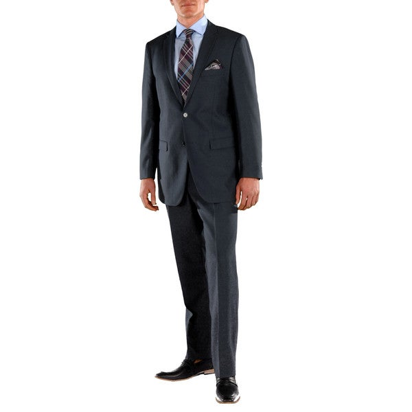 Ferrecci Mens Stunning Solid Navy Blue Regular Fit 2-piece Suit