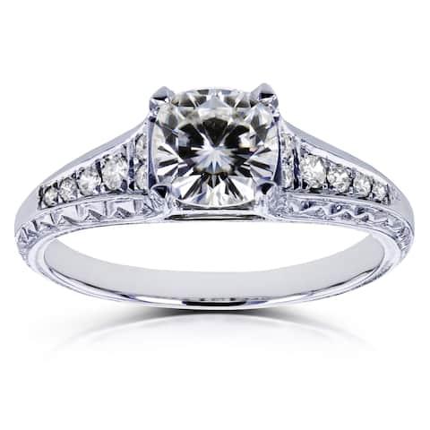 Annello by Kobelli 14k White Gold 1 1/5ct TGW Cushion Moissanite (H-i) and Diamond Vintage Engagement Ring