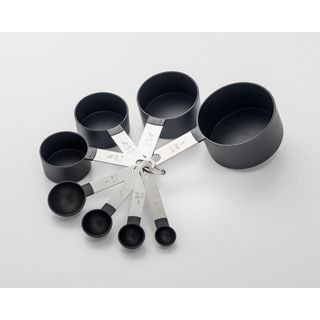 8 Piece Stainless Steel and Black Nylon Measuring Set
