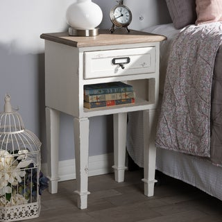 Provincial Style Weathered Oak and White Wash Distressed Finish Wood Nightstand by Baxton Studio