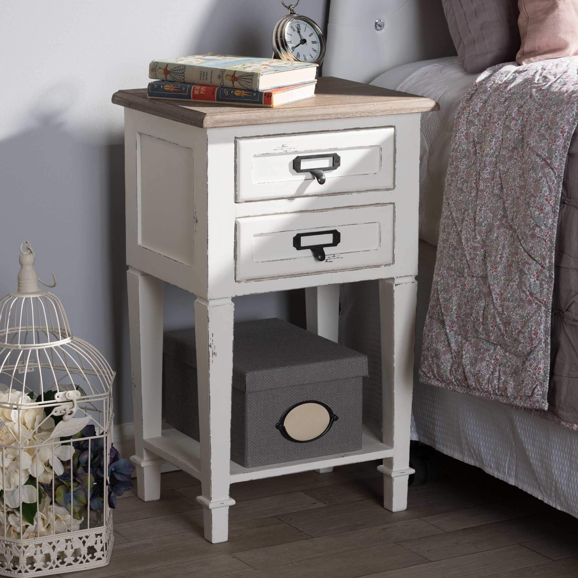 Provincial Style Weathered Oak and White Wash Distressed ...