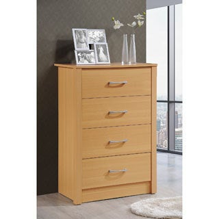 Hodedah Wooden Contemporary 4-Drawer Chest (Option: Natural Finish)