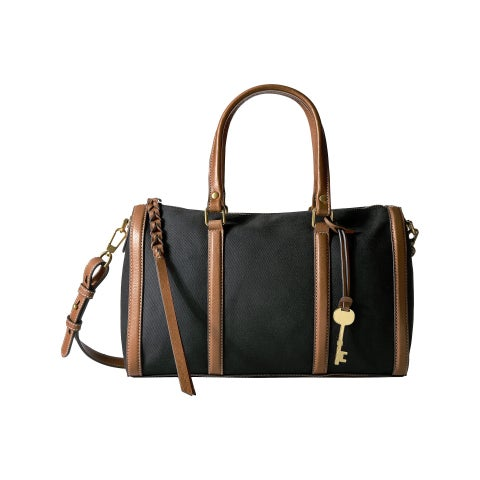 Fossil Kendall Black Canvas Satchel Handbag