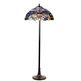 Chloe Nora Collection Tiffany Style Floral Design 2-light Dark Antique Bronze Floor Lamp