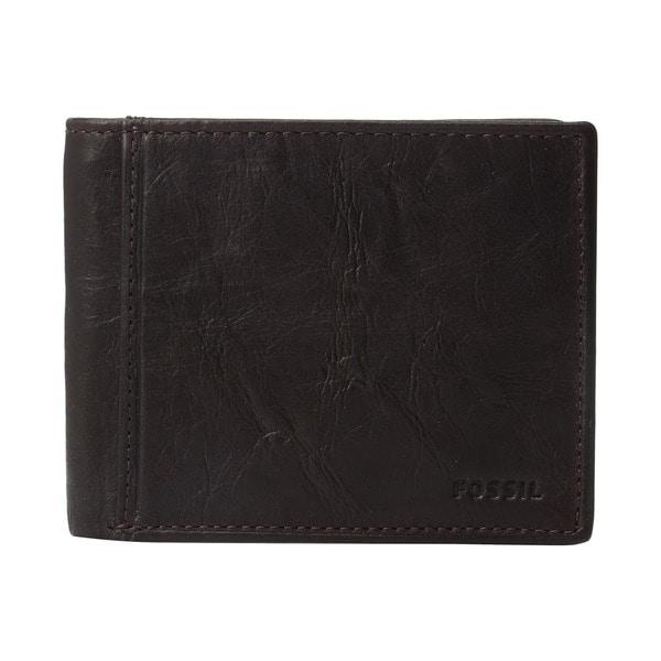 Fossil Ingram RFID Bifold with Flip ID Brown Mens Wallet