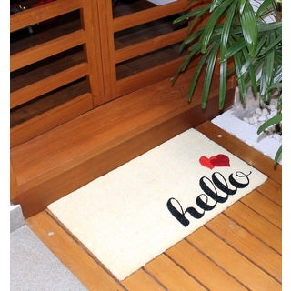 Machine Woven Aspen ( Ivory/Red) 100% Natural Coir Doormat