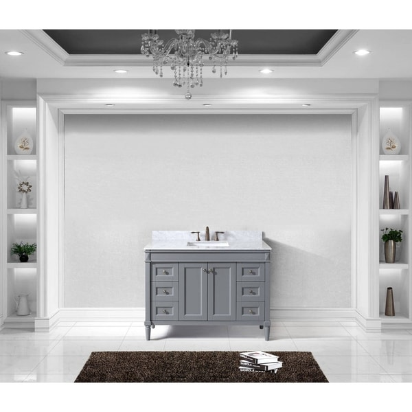 Tiffany 48-inch Single Bathroom Vanity White Marble No Mirror ...
