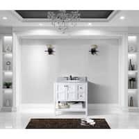 Winterfell 36-inch Single Vanity Round Sink White Marble Top No Mirror