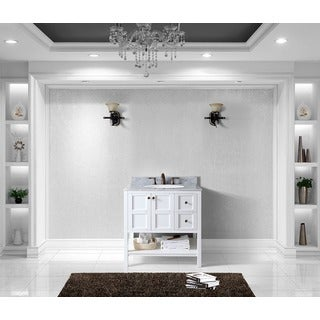 Winterfell 36-in Single Vanity Round Sink White Marble Top No Mirror