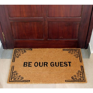 Machine Woven Vale ( Ivory/Black) 100% Natural Coir Doormat