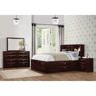 Ankara Espresso Finish Wood Bedroom Set, Includes King Bed, Dresser Mirror with Nightstand