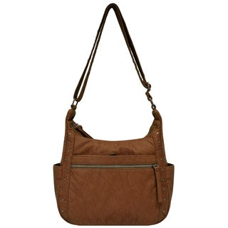 Bueno Washed Elephant Grain Hobo Handbag