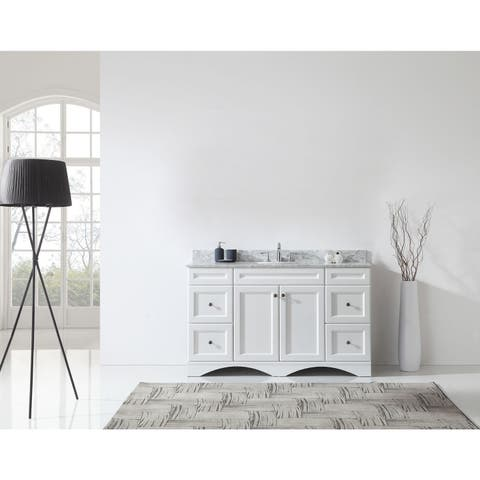 Talisa 60-inch Single Vanity Cabinet White Marble Top Round Sinks