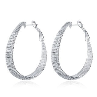 Sterling Silver Beaded Mid-Size Hoops