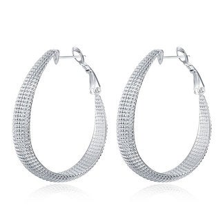 Hakbaho Jewelry Sterling Silver Beaded Mid-Size Hoops