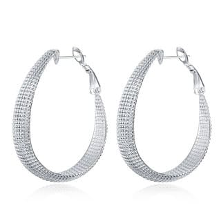 Hakbaho Jewelry Sterling Silver Beaded Mid-Size Hoops|https://ak1.ostkcdn.com/images/products/15959249/P22357571.jpg?impolicy=medium