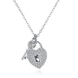 Hakbaho Jewelry Key to your Heart Sterling Silver CZ Necklace|https://ak1.ostkcdn.com/images/products/15959256/P22357577.jpg?impolicy=medium