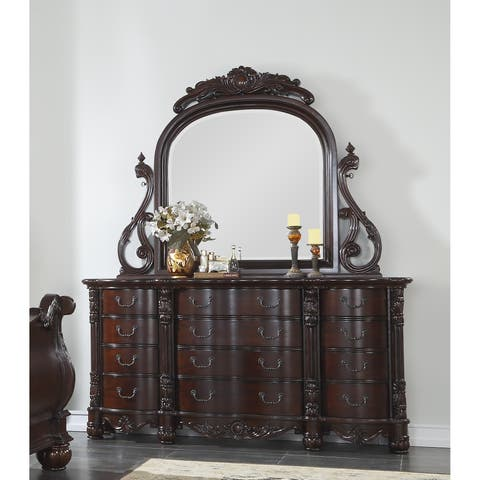Saillans Cherry Finish Solid Wood Construction Fully Assembled Dresser and Mirror