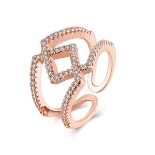 Hakbaho Jewelry Rose Gold Plated Shape CZ Ring