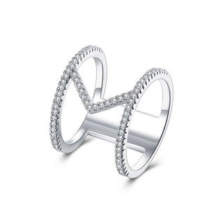 Hakbaho Jewelry White Gold Plated CZ Rolling Pin Ring