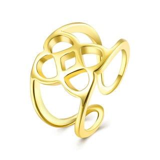 Gold Plated Multi Laser Cut Circular Adjustable Ring