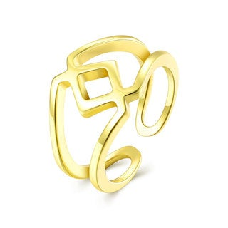 Gold Plated Shape Laser Cut Adjustable Ring