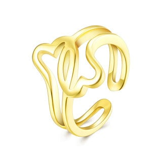 Hakbaho Jewelry Gold Plated Laser Cut Intertwined Hearts Love Adjustable Ring