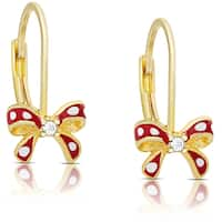 Molly and Emma Gold over Sterling Silver Children's Cubic Zirconia and Enamel Bow Earrings