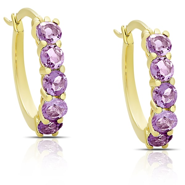 Dolce Giavonna Gold over Sterling Silver Gemstone Hoop Earrings. Opens flyout.